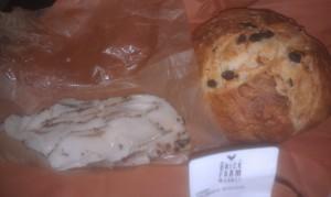 Semolina raisin bread and lardo