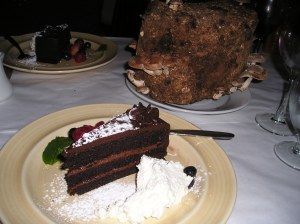 Chocolate cake with shiitake ganache