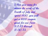 A Tre Piani special for the week of July 4th, and more….