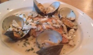 Salmon with crab and clams at Antimo's