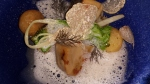 elements mushrooms, melon, white truffles and foam, & a baton of rye bread beneath
