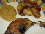 Duck confit + potatoes & applesauce