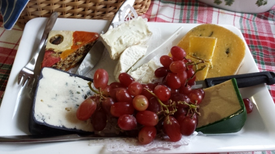 Christmas Eve Cheese Tray (Note Brick Farm pressed fruit/nut wedge on upper left)