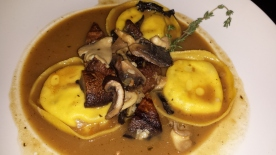 Sonoma goat cheese ravioli with roasted mushrooms