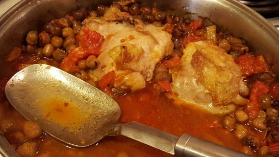 Chicken with harissa and favas/chickpeas