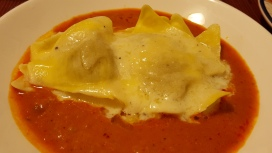 Ravioli with two sauces