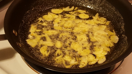 Sizzling garlic for garlic bread